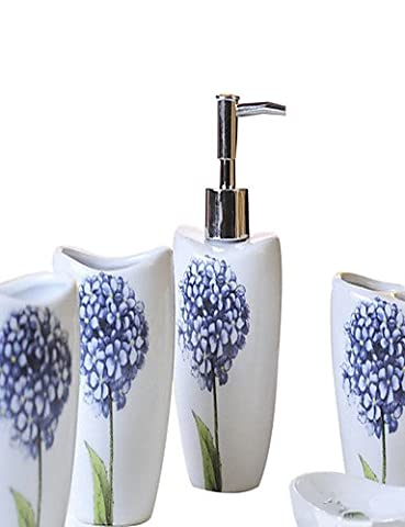 YangR*Blue Hydrangea pattern Bathroom Five piece suit+Box