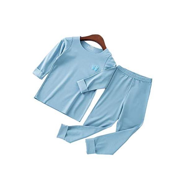 Pouybie 1 pc Pijamas para niños, Ropa Interior térmica sin Costuras y Ropa Interior térmica de Invierno para niños Top… 1