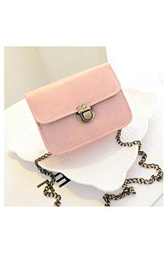 SODIAL(R) Messaggero delle donne del nuovo di modo catena borse a tracolla in pelle PU Bag di colore della caramella Crossbody Bag Mini - verde Rosa