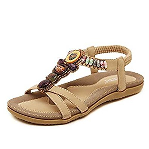 Ankle Strap Flat (Women's Summer Rhinestone Bohemian Beaded Ankle Strap Sandal Folk Round Dunlop Clip Toe Sandals Boho Beach Flat Elastic T-Strap Post Thong Sandals Shoes (38 EU, beige))