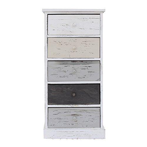 Rebecca srl cassettiera comodino 5 cassetti natural legno paulownia bianco beige grigio vintage retrò camera bagno (cod. re4400)
