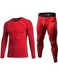 QCHENG Ensemble de sous-vêtements Thermiques pour Homme Base Layer Haut  Maillot de Corps Pantalon 14ded7c1e25