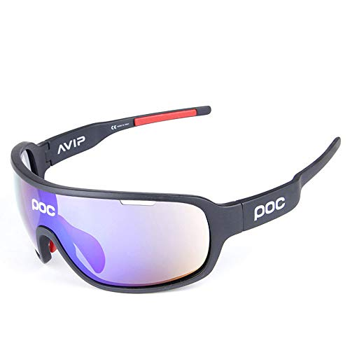 AUMING Polarisationsbrille Polarisationsbrille Polarized Sunglasses Sport Ciclismo Schutzbrille UV400 Superlight Frame Design für Männer und Frauen 5 austauschbare Gläser 7 Farben schwarz