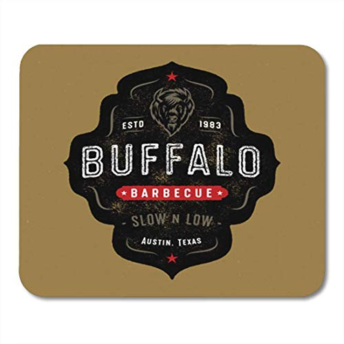 ads, Gaming Mouse Pad Shape Vintage Buffalo Badge Western Barbecue Emblem Bison Head Label 11.8