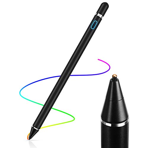 AICase Aktiver Stylus,Tablet Stift Eingabestift Touchstift,1,45-mm-Spitze, Universal Touchscreen-Eingabestift mit integr. Akku, Passend für Smartphones, Tablets, Apple iPhone/iPad,Schwarz