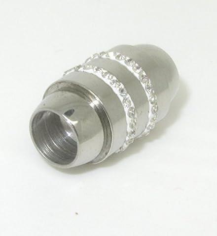2 Magnetverschlüsse 304 Edelstahl silberfarben mit 2 Strassreihen für 6mm Kordel DIY vom Bastel