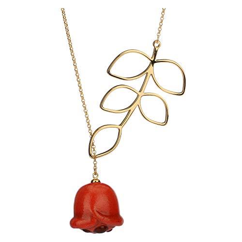 Thun ® - collana con papavero e foglia - paccata in oro - ciondolo in ceramica - 28 cm (+4 cm)