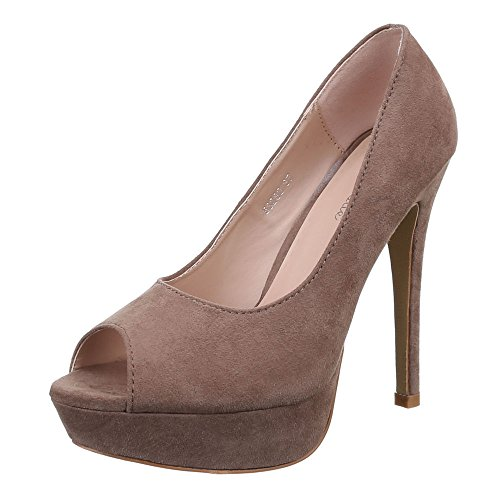 Damen Schuhe, 53280, PUMPS HIGH HEELS PLATEAU PEEP TOE Hellbraun