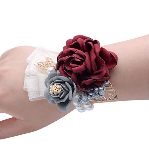 Anwedding Handgelenkkorsage, Blumenmädchen, Brautjungfern, Hochzeit, Handgelenk, Abschlussfeier, Party-Hand, Blumen-Dekoration weinrot (Blume Corsage)
