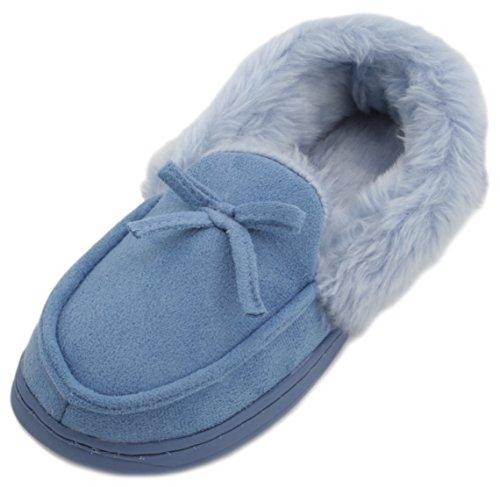 Pantofole da donna in finta pelle scamosciata pelliccia Mocassino Pantofole Blu