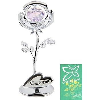Crystocraft Keepsake Gift - Celebration Rose Gift Ornament THANK YOU with Swarvoski Crystal Elements by Widdop Bingham