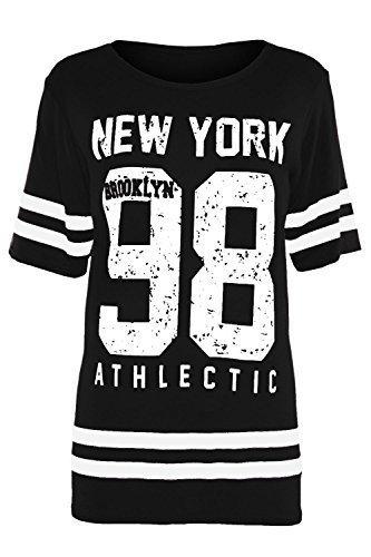 Brooklyn Kinder T-shirt (Kinder Flügelärmel T-shirt Brooklyn 76 New York 98 Top Rundhals Gestreift Top Größe 7/8 9/10 11/12 13 - 98 New York Schwarz, 158)
