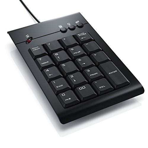 CSL - Numpad Keypad inkl. Mulitmediatasten | USB-Nummerntastenfeld | Nummernblock Zusatztastatur | 3 Multimedia Keys | 19 Tasten | für Laptop Ultrabook Netbook Desktop PC | kabelgebunden Netbook Laptop Computer
