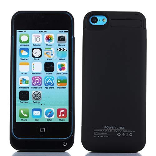 Cover batteria per iphone 5s,4200mah ricaricabile custodia batteria per iphone 5s,esterna protettiva power bank case portatile backup caricabatterie nero