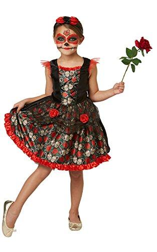 Tage 100 Kinder Kostüm - Rubie's 2630709L Red Rose Day of the Dead, Kostüm für Kinder, L