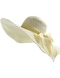 JUNGEN Floppy Chapeau Unisexe Wide Brim Chapeau De Soleil Fashion Voyage Chapeau de Plage idéal pour Vacances Nœud à Deux Boucles Dôme Beige 1 PCS