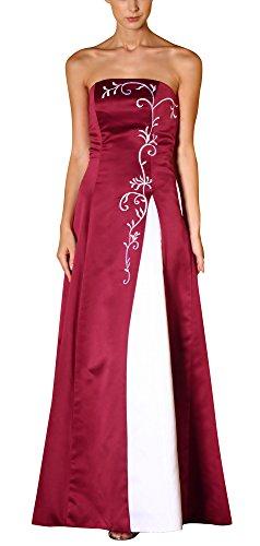 Romantic-Fashion Damen Ballkleid Abendkleid Brautkleid Lang Modell E556 Zweifarbig Stickerei DE Rot Größe 48