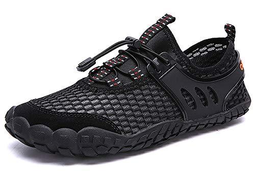 CAGAYA Herren Outdoor Fitnessschuhe Wasserschuhe Trekking Schuhe Aquaschuhe Männer Rutschfest Atmungsaktiv Wanderschuhe Sneaker (46 EU, Schwarz)