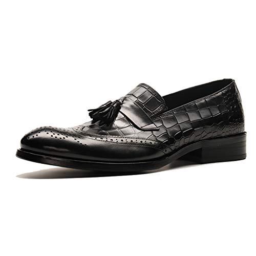 Slip-on-Überschuhe (Jugend Herrenschuhe Quaste Anhänger Brogues Geschnitzte High-End Leder Formelle Schuhe Büro Business Work Slip-On/Überschuhe Casual Schuhe,Black,37EU)