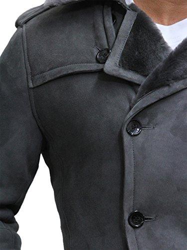 Brandslock Herren Luxus Spanisch Merino-Pelz-Schaffell-Belted Cabanjacke Deutsche Marine Lang Dufflecoat Ideal für Winter Neueste Entwurf Grau