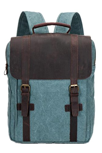 Verarbeitetes Leder Rucksack (Aidonger Unisex Canvas und Leder Rucksack Laptoprucksack (Koralle Grün-47))