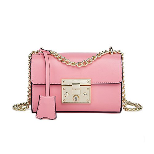 Donne Cuoio Genuino Retro Anti-Theft Mini Singola Spalla Crossbody Bag. Pink