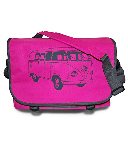 """Preisvergleich Produktbild Messenger Bag """"T1 Bus"""" Retro Schultertasche in Pink/Anthrazit"""
