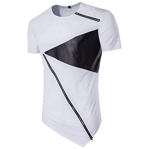 KEERADS Oversize Shirt Herren Basic T-Shirt Männer Kurzarm Longshirt Schwarz (S(Brustumfang 102cm), Weiß) (Kontrast Kragen-kurzarm-polo-shirt)