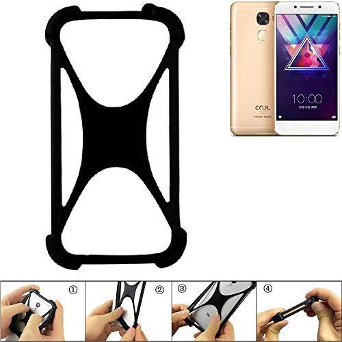 K-S-Trade Handyhülle für Coolpad Cool S1 Schutz Hülle Silikon Bumper Cover Case Silikoncase TPU Softcase Schutzhülle Smartphone Stoßschutz, schwarz (1x)