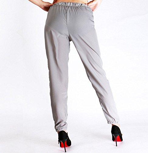 Pantaloni casual da donna, pantaloni in chiffon con coulisse per l'abbigliamento e il business quotidiano Cachi