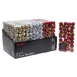 Conjunto de 96 bolas pequeñas para árbol de Navidad (32 rojas, 32 plateadas y 32 doradas, 2,5 cm)