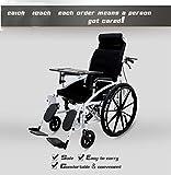 DSVBNM Folding Carrozzina Leggera Ampia Seduta di Freno a Mano in Acciaio Inox Telaio Sedile Imbottito e Staccabile elevatrici poggiagambe Portatili di Trasporto sedie a rotelle