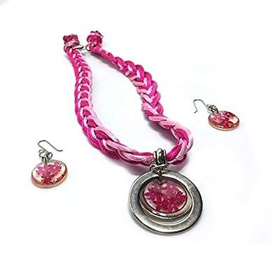 parure rose 2 pièces: collier & boucles d'oreilles - Mexique