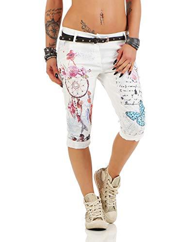 Zarmexx Damen Caprihose Boyfriend Baggy Hose Jeanshose Jeggings Fantasy-Print Capri-Chinohose 12299 (L(40), Weiß) - Weiße Capri-jeans