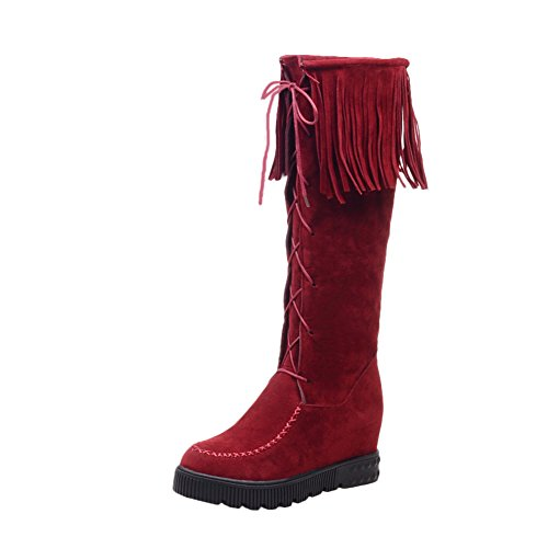 Quaste Heel Stiefel Populär Shoes Damen Rot Langschaft Mee Invisibel Nubukleder 48YIq8Aw