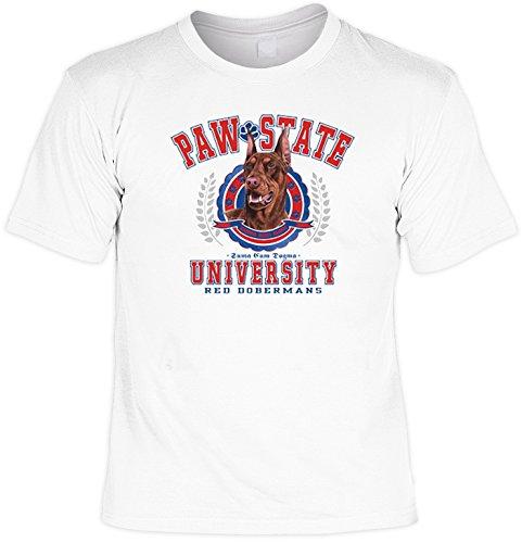 T-Shirt cooles Fun Shirt weiss für Hundefreunde Motiv roter Dobermann Paw State, ideales Geschenk, für Herren Frauen Weiß