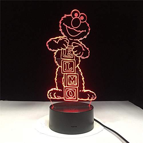Llwmn Nachttischlampen Sesamstraße Elmo Big Bird Grouch Tischlampe Farbwechsel Child Night Light Usb Flexible Lampe
