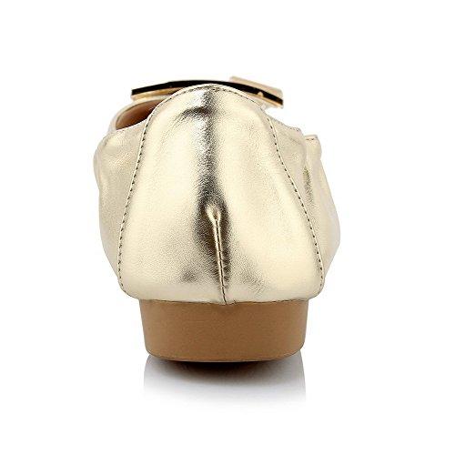 AllhqFashion Femme Pointu Tire Microfibre Mosaïque Non Talon Chaussures à Plat Doré