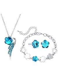 Majesto Juego de Joyas - conjunto colgante de collar y pendientes y pulsera flor cristal para mujer adolescente niña…