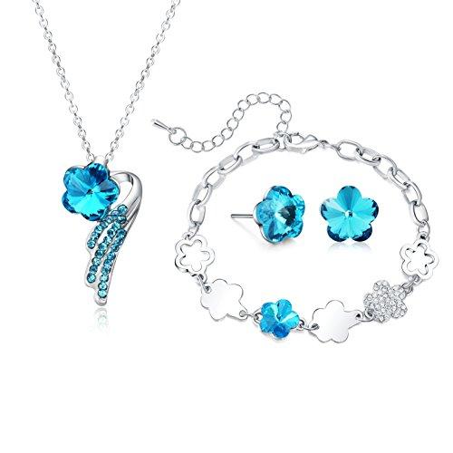 0eafbf4ba4f8 Colgante de collar pulsera pendientes joyería Set para mujeres adolescentes  Niñas Niños Regalo