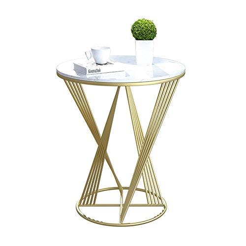 YueQiSong Marmor Wohnzimmer Sofa Beistelltisch Nordic Schmiedeeisen Beistelltisch Kleiner Couchtisch Licht Wohnzimmer Ecktisch, Gold, 60 * 70 cm -