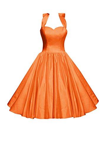 Find Dress Femme Elégant Robe de Soirée/Cocktail/Cérémonie Style Empire Décolleté au dos en Satin Elastique Orange