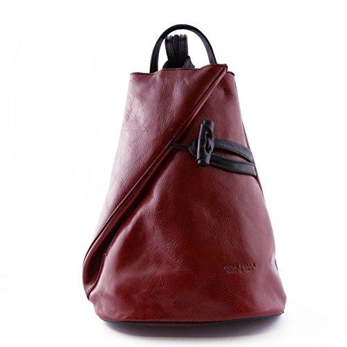Zaino In Vera Pelle Per Donna Con Bretelle A Cerniera Colore Rosso Nero - Pelletteria Toscana Made In Italy - Zaino