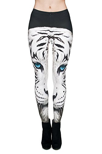 Alive Damen Leggings One size  Gr. One size , weißer tiger (Footless Weiß Tights)