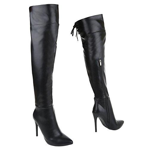 Damen Schuhe High Heels Klassischer Stiefel Reißverschluss Overknee Stiefel Stiefel Pfennig-/Stilettoabsatz schwarz