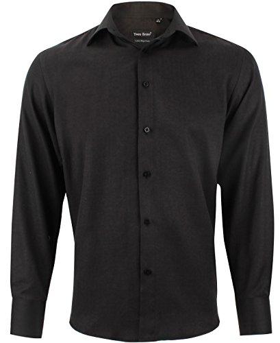 Enzo camicia uomo chevron nero regular fit elegante con maniche lunghe taglia xl