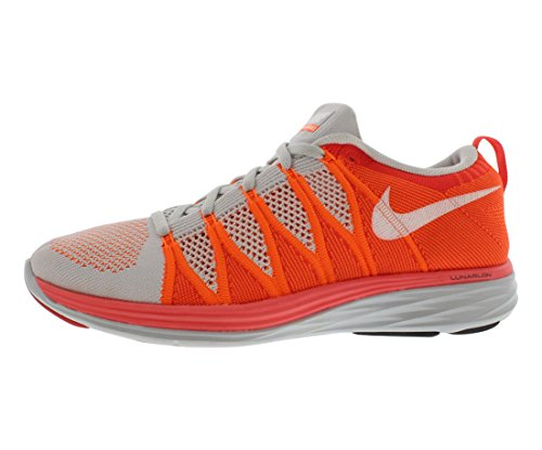 Nike 620465 011 Flyknit Lunar2 Herren Sportschuhe - Running Pure Platinum / White / Atomic Orange / Bright Cri
