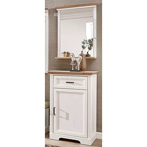Lomadox Garderobenmöbel-Set im Landhaus-Stil in Pinie weiß mit Artisan Eiche, Breite: 65cm