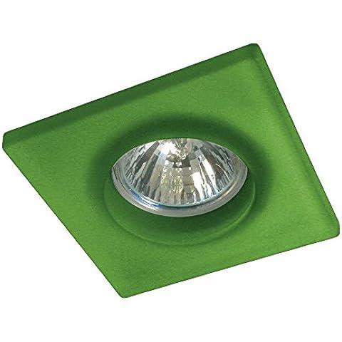 Gumarcris 1294VE - Foco empotrable de cristal cuadrado pintado, color  verde