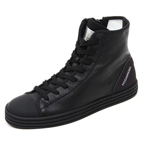 B7080 sneaker alta uomo HOGAN REBEL R141 scarpa zip interna nero shoe man Nero